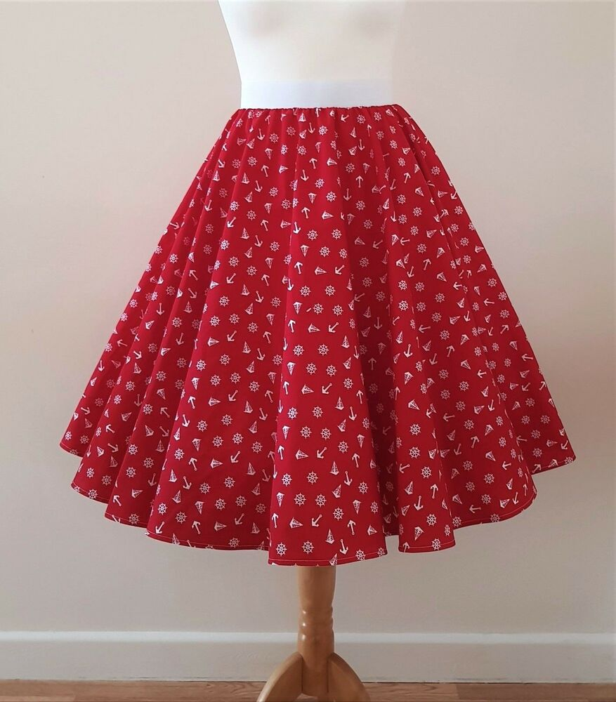 1950 S Cercle Jupe Rouge Ancre Toutes Tailles-nautique Marin Rockabilly Pinup Robe