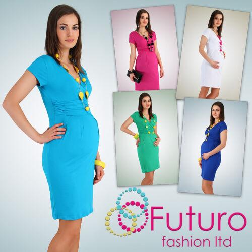 Women/'s Maternity Dress Tunic Short Sleeve V-Neck Stretchy Sizes 10-20 FT834
