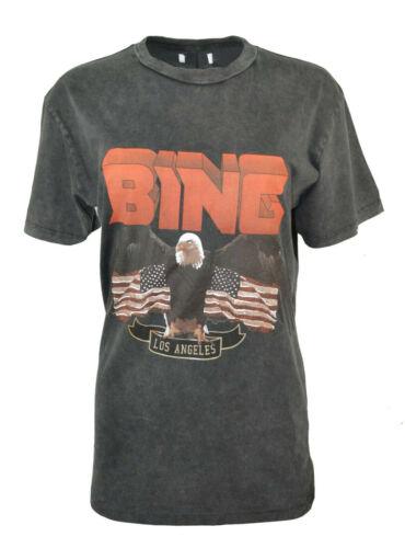 ANINE BING VINTAGE AMERICAN EAGLE T-SHIRT LOS ANGELES FADED BLACK US FLAG RARE