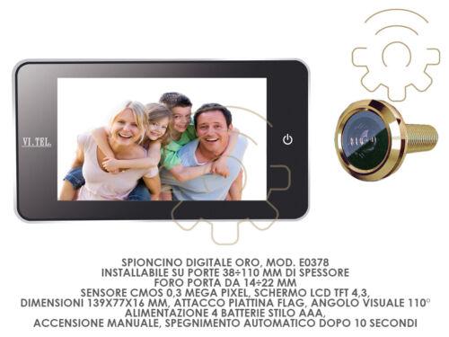 """Spioncino digitale E0378 oro schermo lcd tft 4.3/"""" attacco piattina cm 139 x 77 x"""