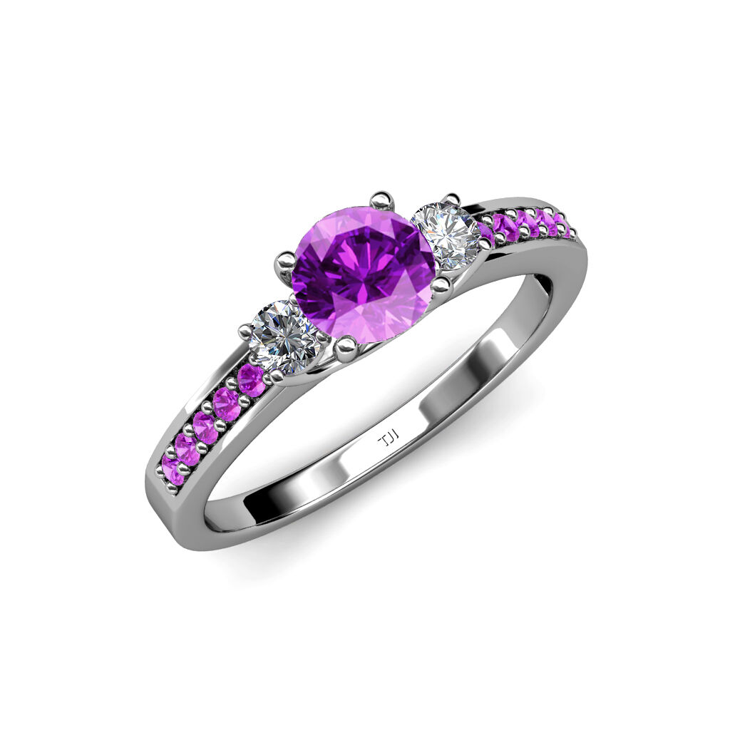 Amethyst & Diamond 3 Stone Ring with Amethyst on Side Bar 1.40 ct tw in 14K gold