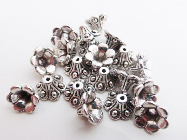 25 x Tibetan Style Flower Cone Bead Caps Endbeads Antique Silver 9mmx6mm Finding