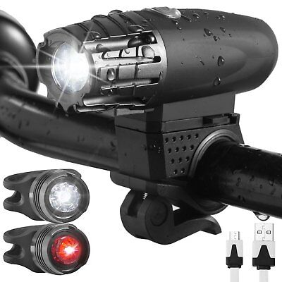 USB Rechargeable LED Bicycle Bright Bike Front Headlight+2Rear TailLight Set KY