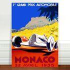 "Vintage Auto Racing Poster Art ~ CANVAS PRINT 8x12"" Monaco 1935"