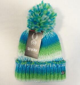 Spyder Blue   Green Fleece Lined Knit Cuff Pom Pom Beanie Youth ... 768bbebae4a5