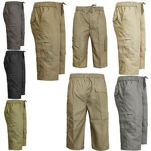 bajo precio 4697a cec3b Detalles de Nuevo pantalón corto para hombre elástico en la cintura 3/4  Largo Pantalón Cargo De Combate De Playa De Verano De Algodón- ver título  ...