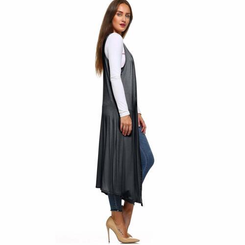 Femme Femmes Boyfriend Sans Manches Ouvert longue Plain Duster cardigan top 8-26