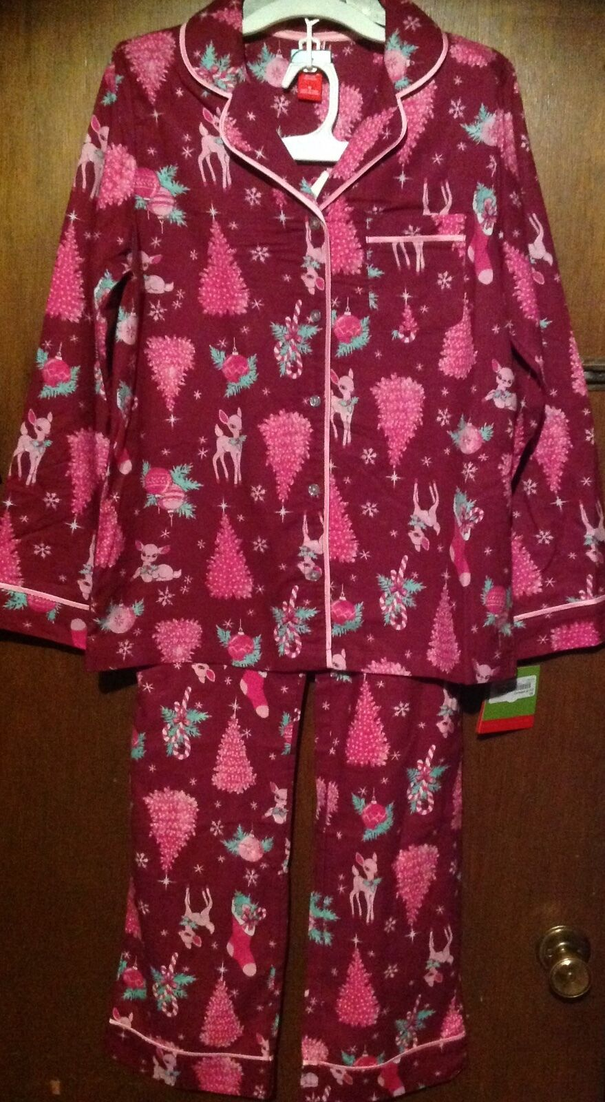 TARGET WOMEN'S COTTON FLANNEL CHRISTMAS TREE 2pc PAJAMAS SET XL purple NEW PINK