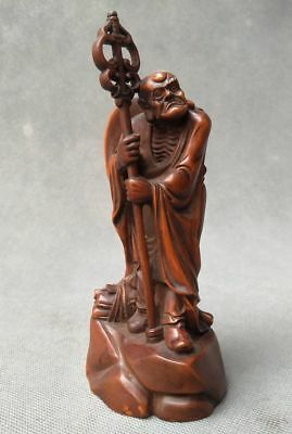 Carved Figures Decorative Arts Kind-Hearted Collection Chinese Boxwood Fine Hand Carved Buddha Lohan Statue Orders Are Welcome.