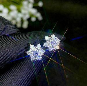 2Ct Round Cut Diamond Push Back Halo Flower Stud Earrings 14K White Gold Finish