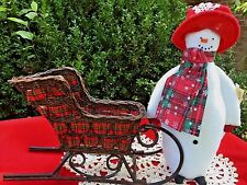 Amish Made DAVID THE SNOWMAN DOLL w/ Reindeer Sleigh Bells Wicker Sled SET of 2