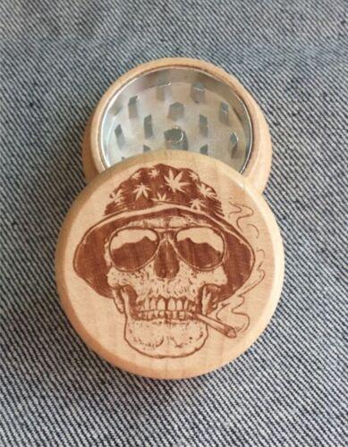 Tobacco Grinder Smoking Skeleton *SHIPS FROM USA FAST* Wooden Herb Grinder