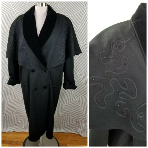 Vintage Cape Coat Wool size XL/1X Embroidered Velv