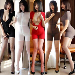 Women-Sheer-Zipper-Open-Bust-amp-Crotch-Bodysuit-Leotard-Lingerie-Catsuit-Clubwear
