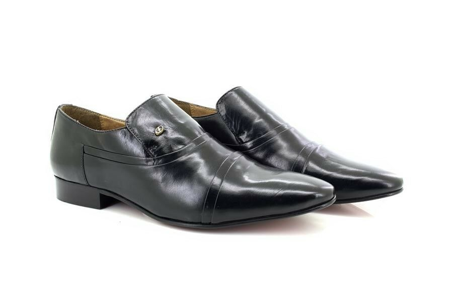 Mens Lucini '33450' Black Leather Cross Pleated shoes