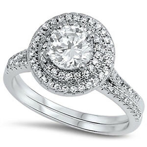 Image Is Loading Sterling Silver CZ Halo Women 039 S Round