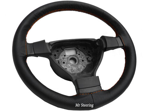 FOR NISSAN MICRA K12 03-10 REAL BLACK LEATHER STEERING WHEEL COVER TOP QUALITY