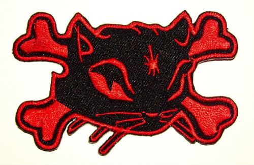2 RED Bad Kitty Cross bones embroidered iron on patch punk girl rockabilly