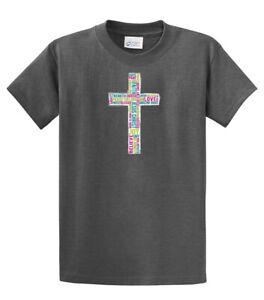 374d03c88 Image is loading Christian-T-Shirt-Inspirational-Cross
