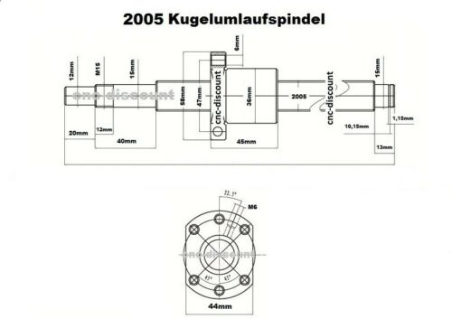 Kugelumlaufspindel 2005 x 1400mm komplett Festlager Loslager Spindel CNC Fräse 3