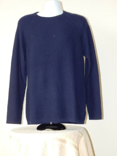 NWT $245 Men TAHARI PURE LUXE CASHMERE CREWNECK RAGLAN SLEEVE Sweater NAVY L-XL