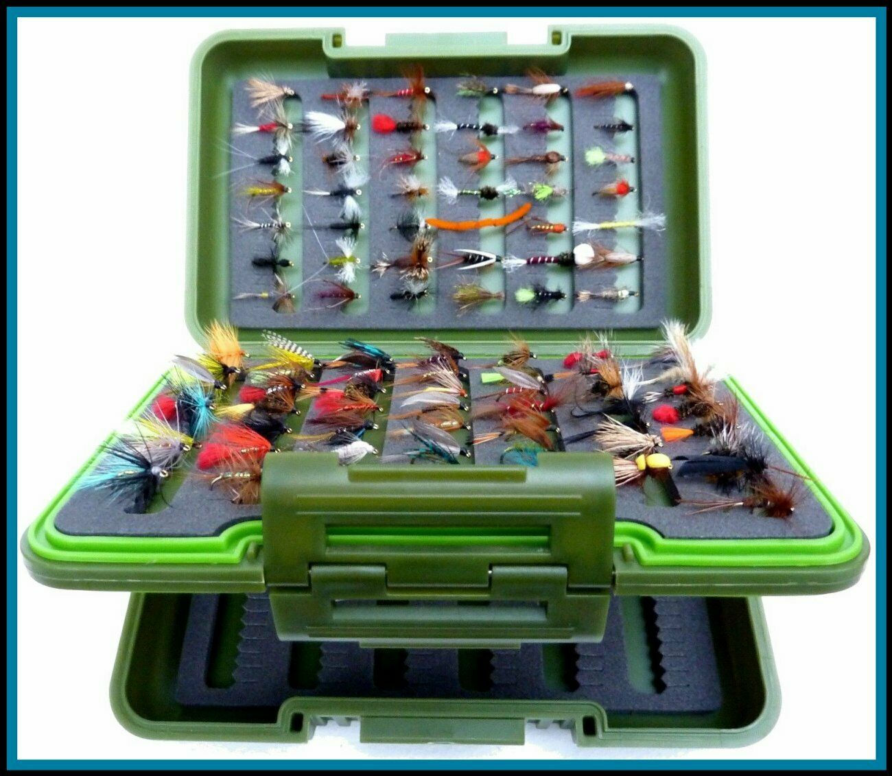 Fly Box with Trout Fishing Flies BARBLESS OR Barbed Trout Flies in 10 25 50 100