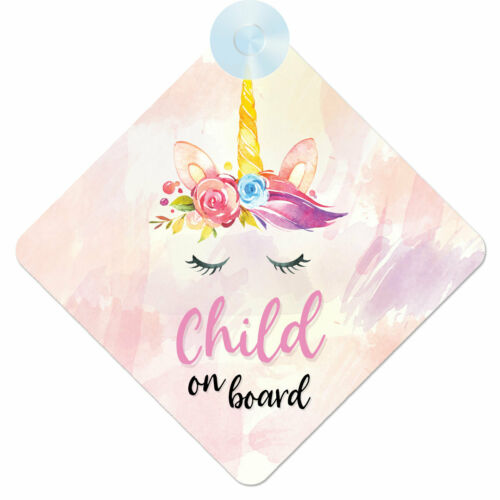 001 Little Girl Gift//Present Unicorn Child On Board Safety Car Window Sign