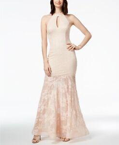 499-Xscape-Women-039-S-Pink-Sequin-Lace-Racerback-Halter-Mermaid-Gown-Dress-Size-4