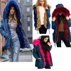 9394bf21ba4e3 New Womens Detachable Thick Faux Fur Hood Trim DENIM Parka Coat ...