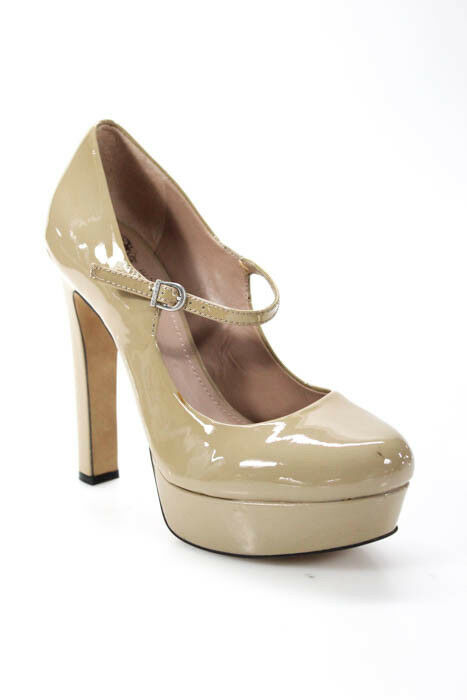 Vince Camuto Beige Patent Leather Round Toe Mary Janes Janes Janes Platforms Pumps Größe 38 8 3e6f9e