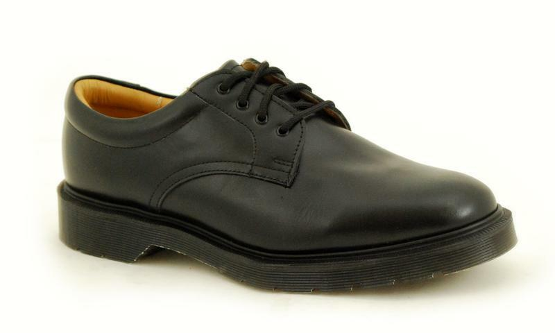 Solovair NPS shoes Made in England 4 Eye Black Padded Colla S033-1462COMFORT