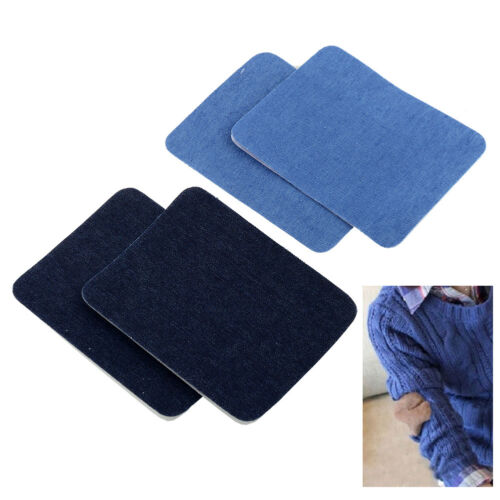 2PCS Iron On Denim Jeans Patches Repairs Knee Sewing Cloth Fabric Cowboy DIY