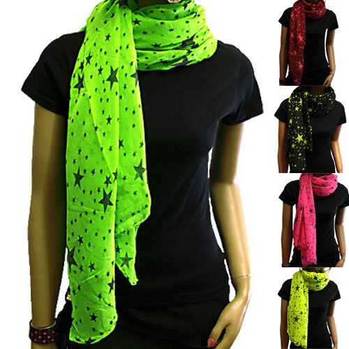 Wunderschöner Schal Tuch Halstuch mit Neon Sternen in verschiedenen Farben NEU!