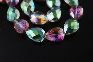 10pcs-18mm-Faceted-Crystal-Glass-Teardrop-Charms-Loose-Spacer-Beads-Rose-Green