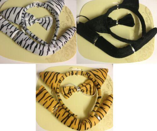 Choose Your Colour Bow Tie Bowtie Fancy Dress Tiger Print Set Ears Tail