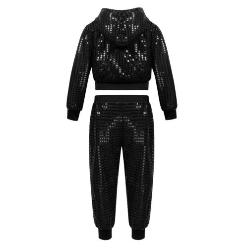 Girls Jazz Sequins Tutu Dress Dancewear Child Shiny Sequins Hip Hop Dance Outfit