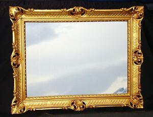 Miroir mural or baroque de sale bain rectangulaire 90x70 ancien couloir ebay for Miroir mural baroque
