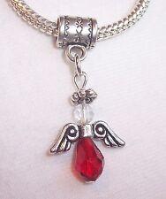 Christmas Angel Red Crystal Holiday Dangle Bead Gift for European Charm Bracelet