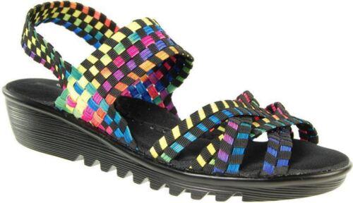 Adesso Flair A4337 Black//Tutti Frutti Elasicated Wedge Sandal