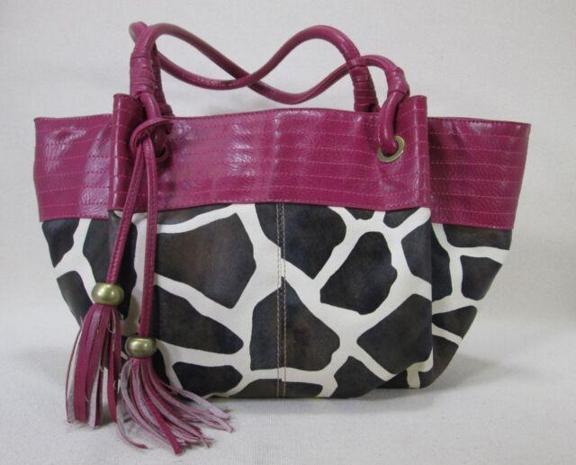 Fashion Handbag - Fun Fuschia and cow print, Manmade, faux leather