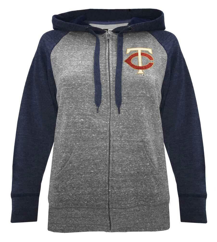 New Era Womens MLB Minnesota Twins Glitter Logo Zip Hoodie Sweatshirt 7773L (XS)