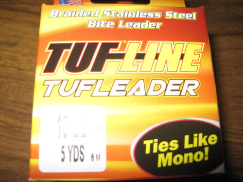 5 Meter Spool Braided Stainless Steel Armoured TUFLINE Bite Leader 5KG