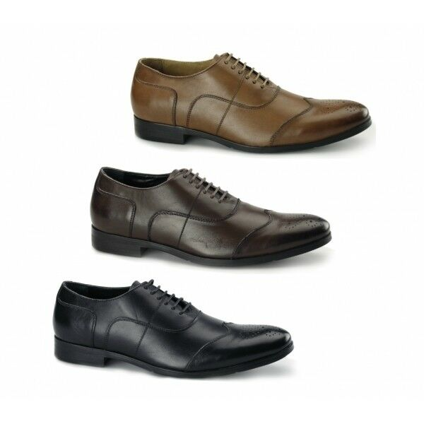 Azor MESSINA 2 Ufficio Formale Da Uomo in Pelle Stringati Con Punta Tonda Oxford Brogues Shoes