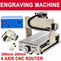 4 Axis CNC Router 3020 Engraver Milling Machine Engraving Drilling Desktop USA