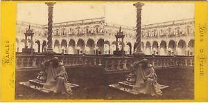 Chiostro San Martin Napoli Italia Foto Stereo Vintage Albumina Ca 1870