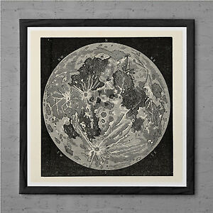 Image Is Loading ANTIQUE MOON MAP Antique Wall Art Map Of