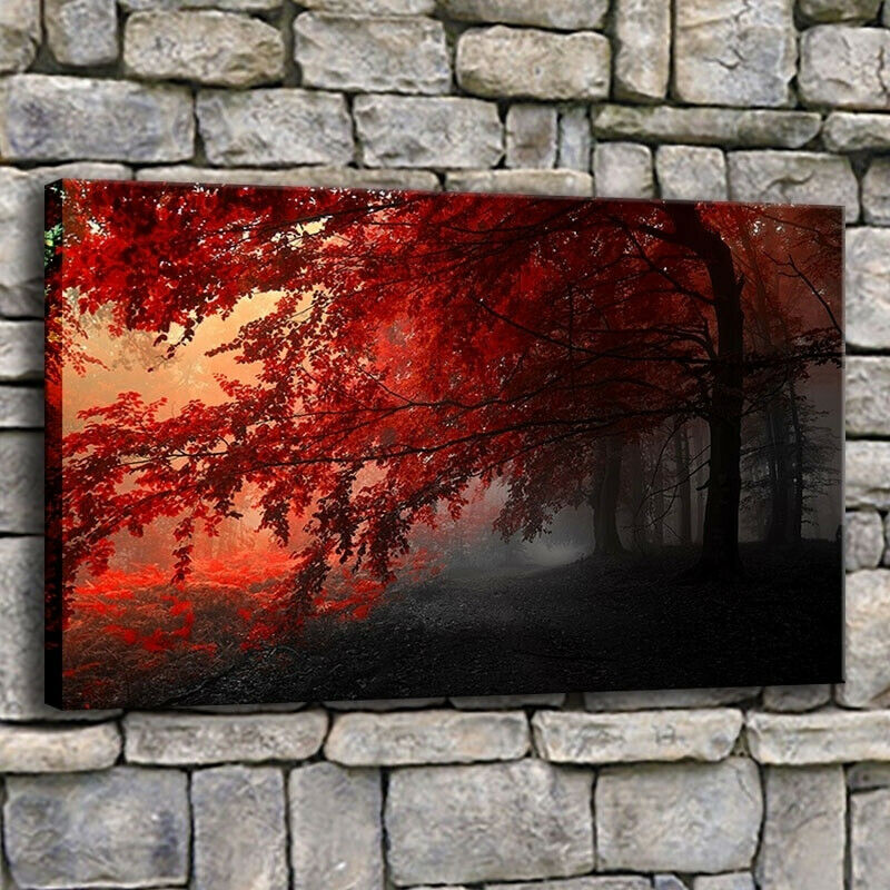 Autumn Mist rot Maple Trees 1 Panel Canvas Print Wall Art
