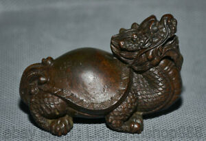 """2.6 """"Rare Chinois Rouge Cuivre Sculpture Feng Shui Dragon Tortue Chance Statue"""