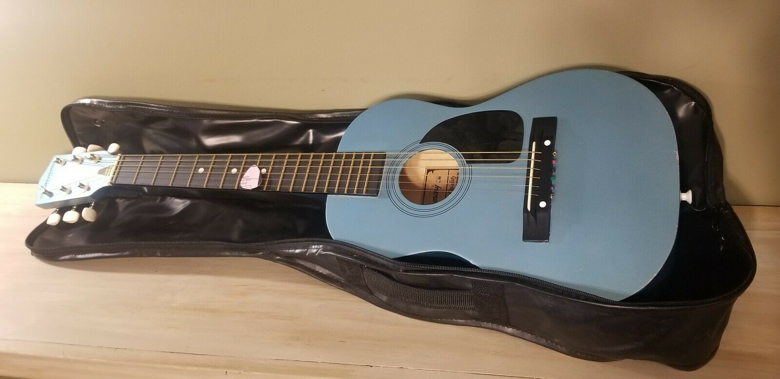 Vintage Light Blau Harmony S Toy  ld Youth Guitar Turquoise Musical Instrument