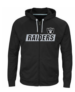 NFL-Oakland-Raiders-Majestic-Men-039-s-Game-Elite-Full-Zip-Hoodie-3X-4X